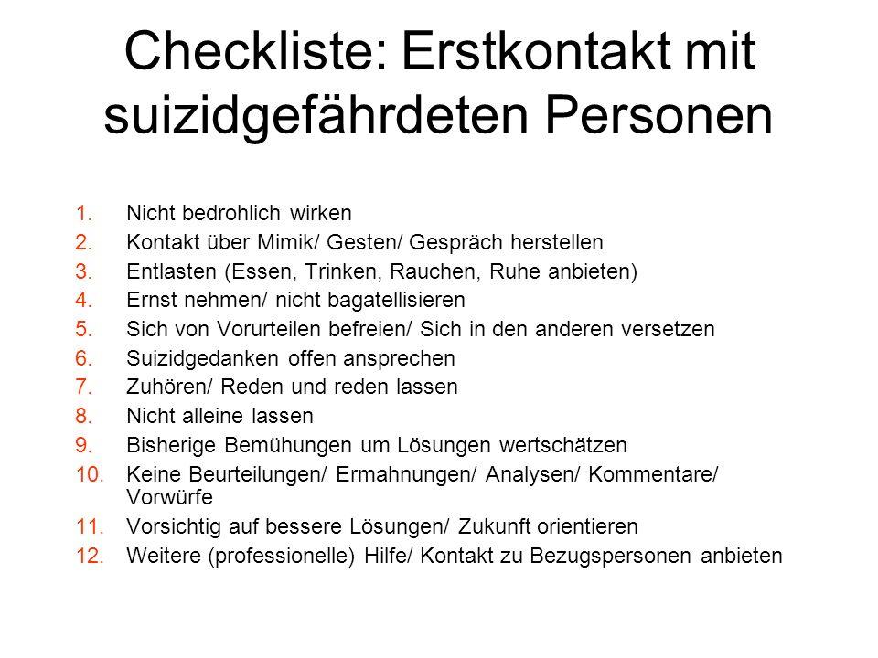 Checkliste: Erstkontakt mit suizidgefährdeten Personen