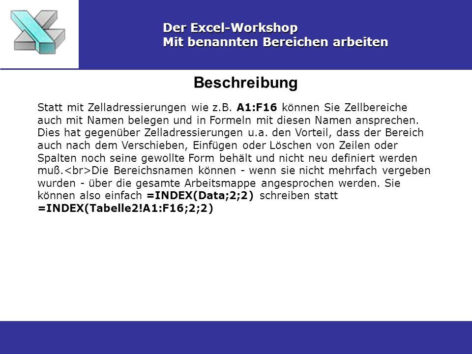 Beschreibung Der Excel-Workshop Mit benannten Bereichen arbeiten