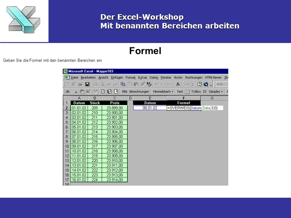 Formel Der Excel-Workshop Mit benannten Bereichen arbeiten