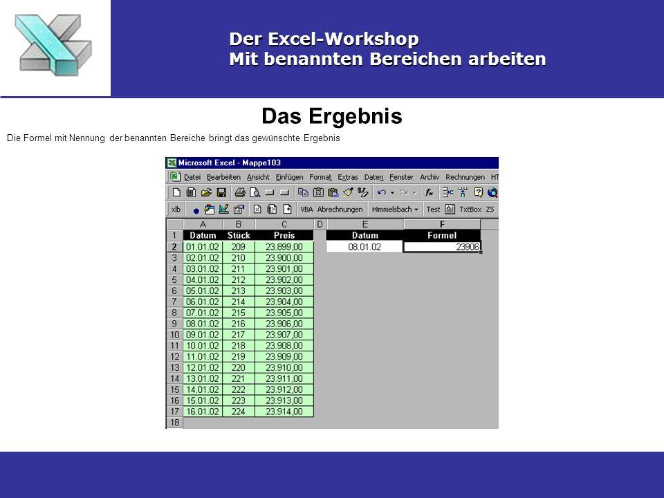 Das Ergebnis Der Excel-Workshop Mit benannten Bereichen arbeiten