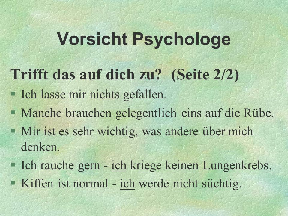 Vorsicht Psychologe Trifft das auf dich zu (Seite 2/2)