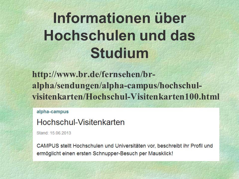 Informationen über Hochschulen und das Studium