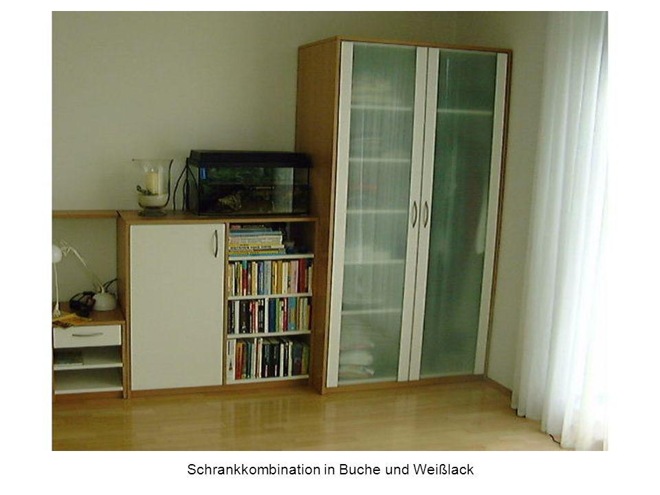 Schrankkombination in Buche und Weißlack