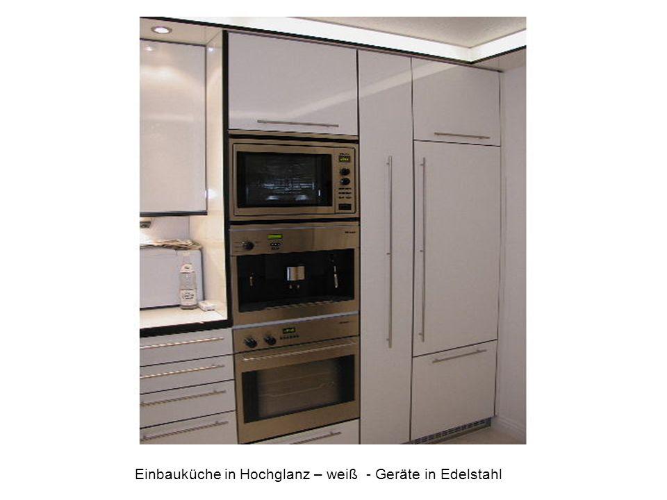 Einbauküche in Hochglanz – weiß - Geräte in Edelstahl