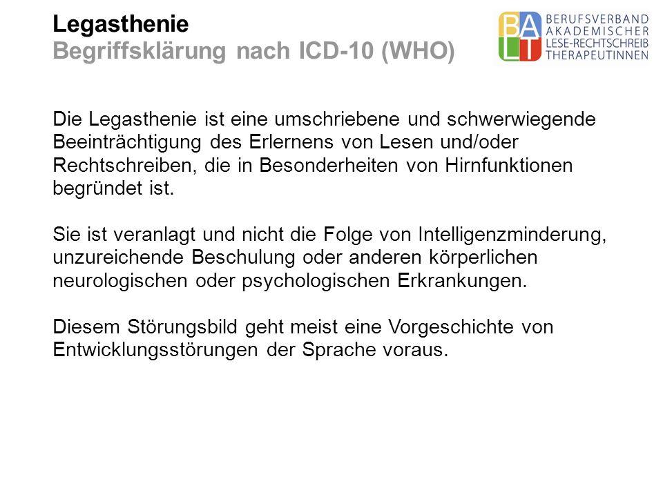 Legasthenie Begriffsklärung nach ICD-10 (WHO)