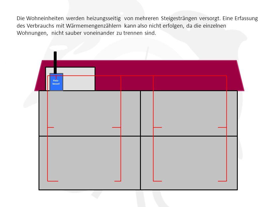 Die Wohneinheiten werden heizungsseitig von mehreren Steigesträngen versorgt. Eine Erfassung des Verbrauchs mit Wärmemengenzählern kann also nicht erfolgen, da die einzelnen Wohnungen, nicht sauber voneinander zu trennen sind.