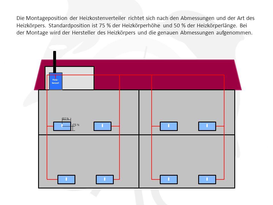 Die Montageposition der Heizkostenverteiler richtet sich nach den Abmessungen und der Art des Heizkörpers. Standardposition ist 75 % der Heizkörperhöhe und 50 % der Heizkörperlänge. Bei der Montage wird der Hersteller des Heizkörpers und die genauen Abmessungen aufgenommen.