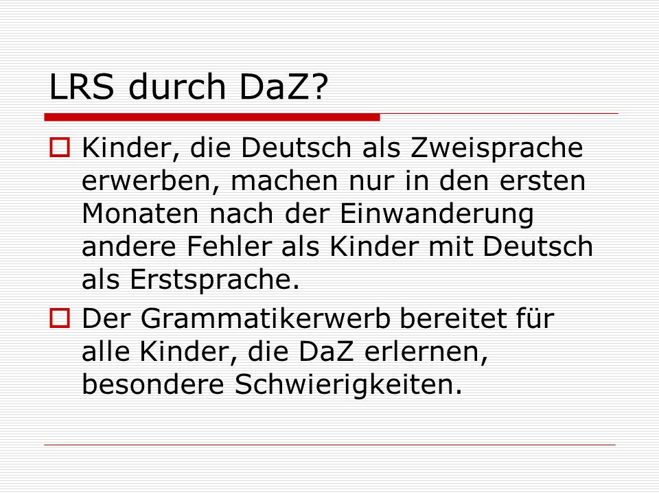 LRS durch DaZ