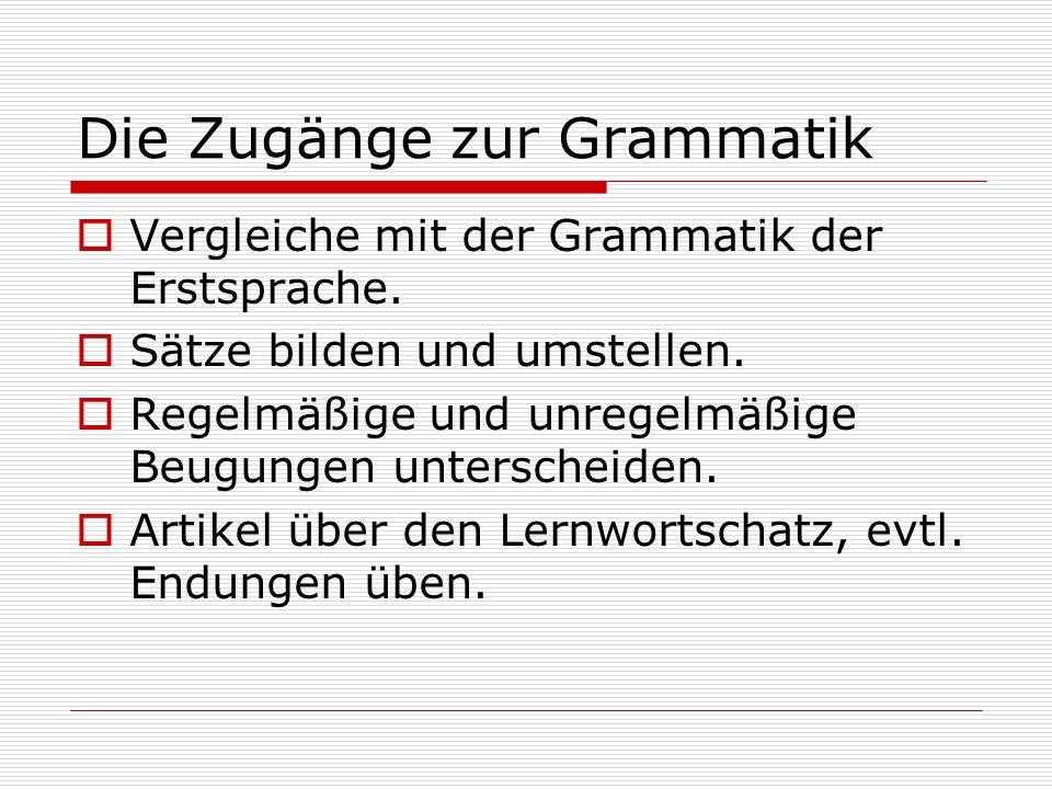 Die Zugänge zur Grammatik