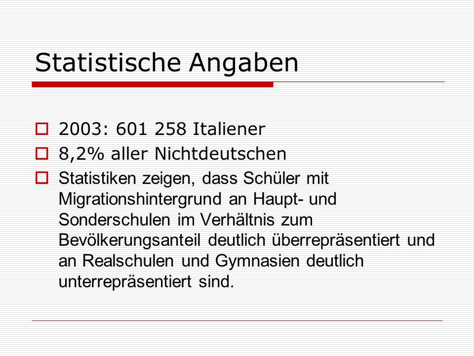 Statistische Angaben 2003: 601 258 Italiener 8,2% aller Nichtdeutschen