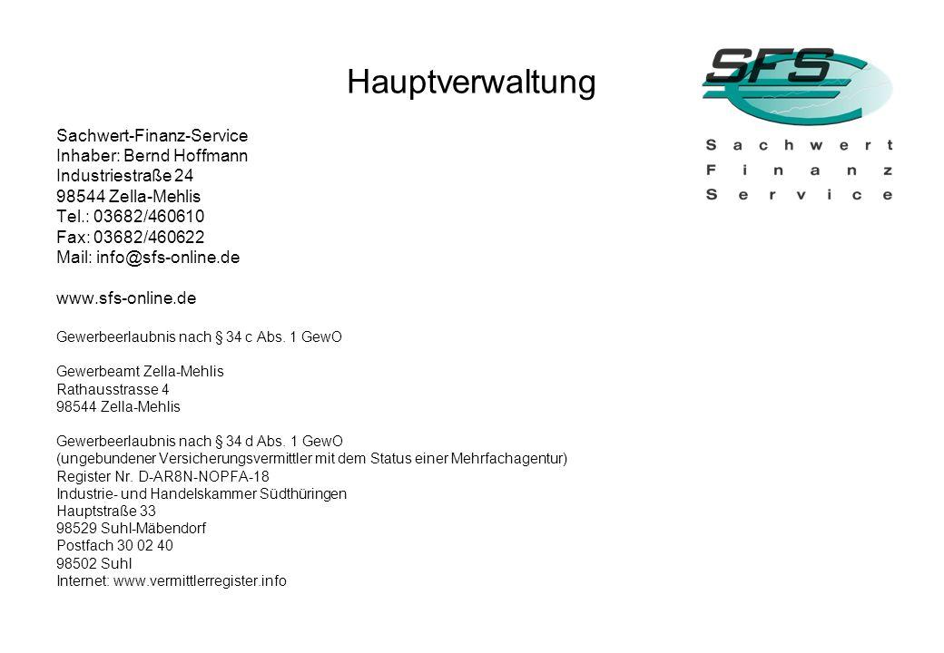 Hauptverwaltung Sachwert-Finanz-Service Inhaber: Bernd Hoffmann