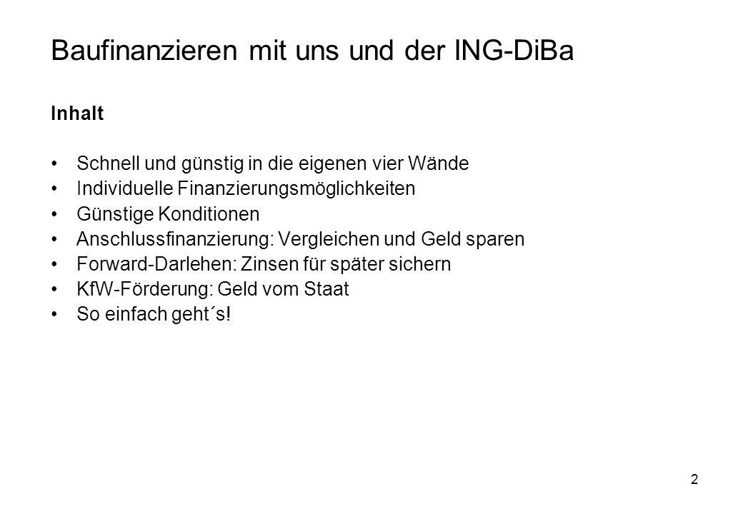 Baufinanzieren mit uns und der ING-DiBa