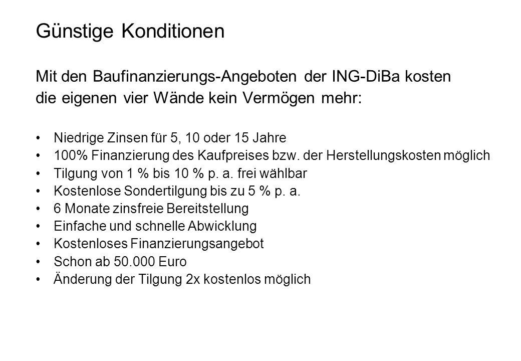 Günstige KonditionenMit den Baufinanzierungs-Angeboten der ING-DiBa kosten. die eigenen vier Wände kein Vermögen mehr: