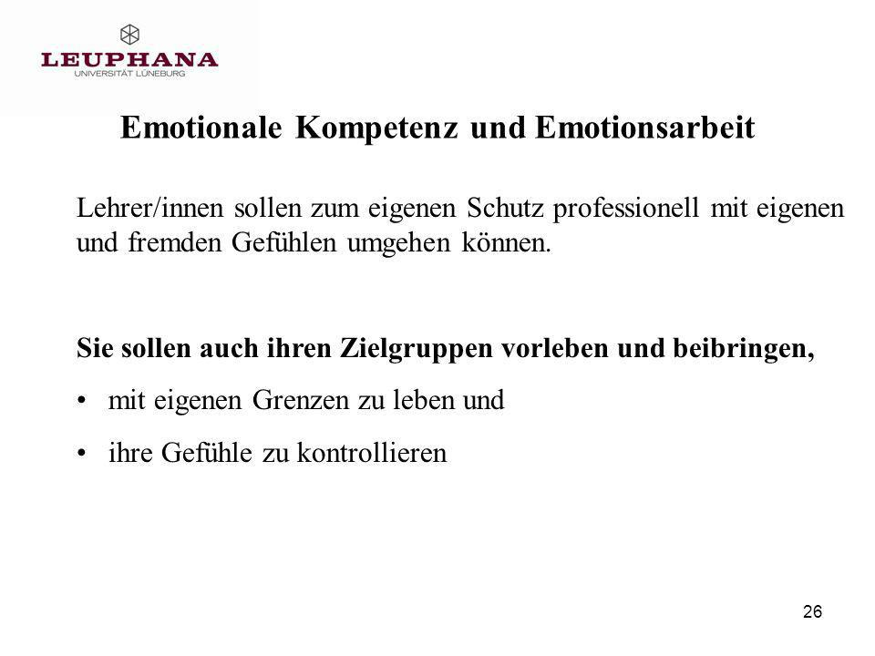 Emotionale Kompetenz und Emotionsarbeit