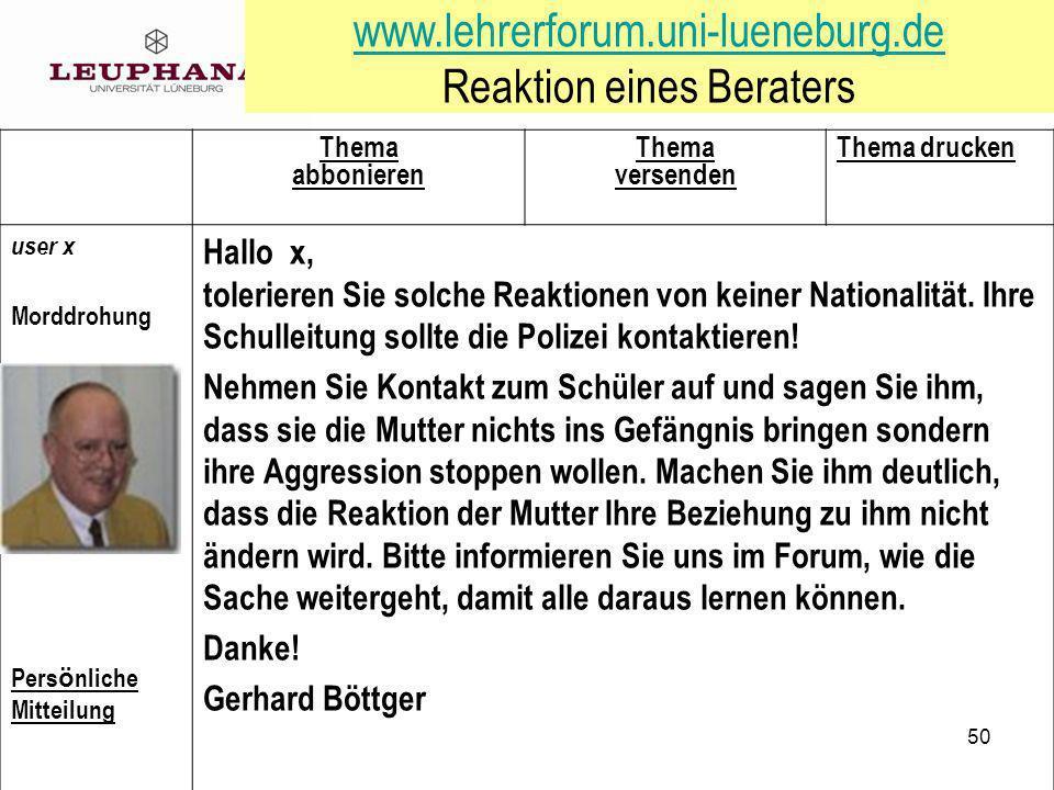 www.lehrerforum.uni-lueneburg.de Reaktion eines Beraters