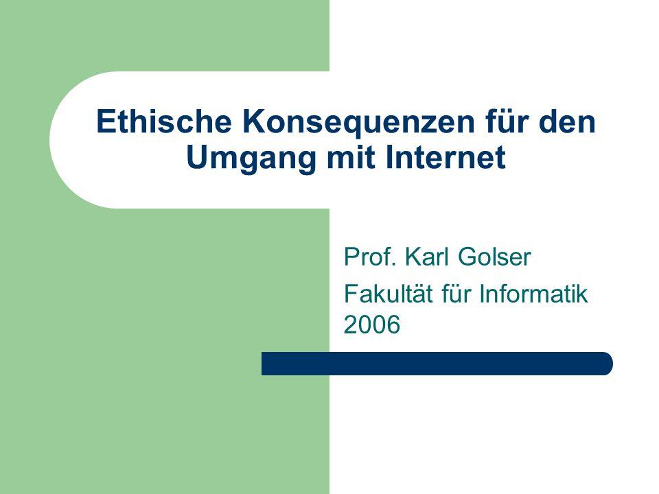 Ethische Konsequenzen für den Umgang mit Internet