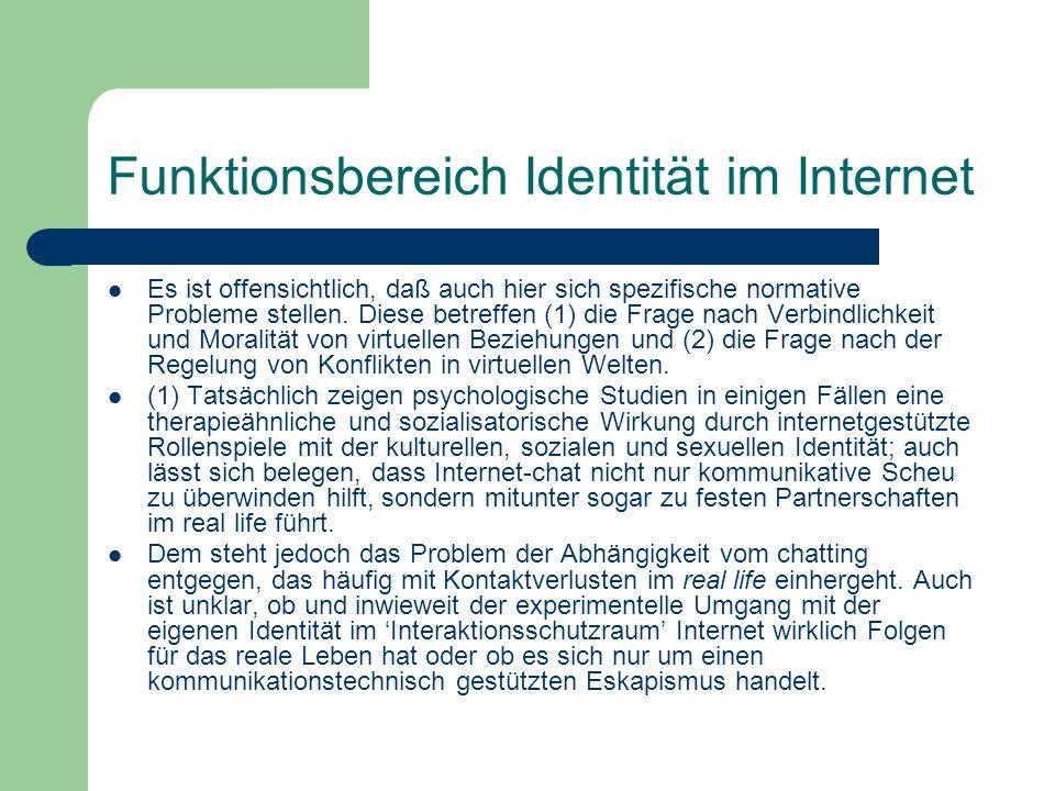 Funktionsbereich Identität im Internet