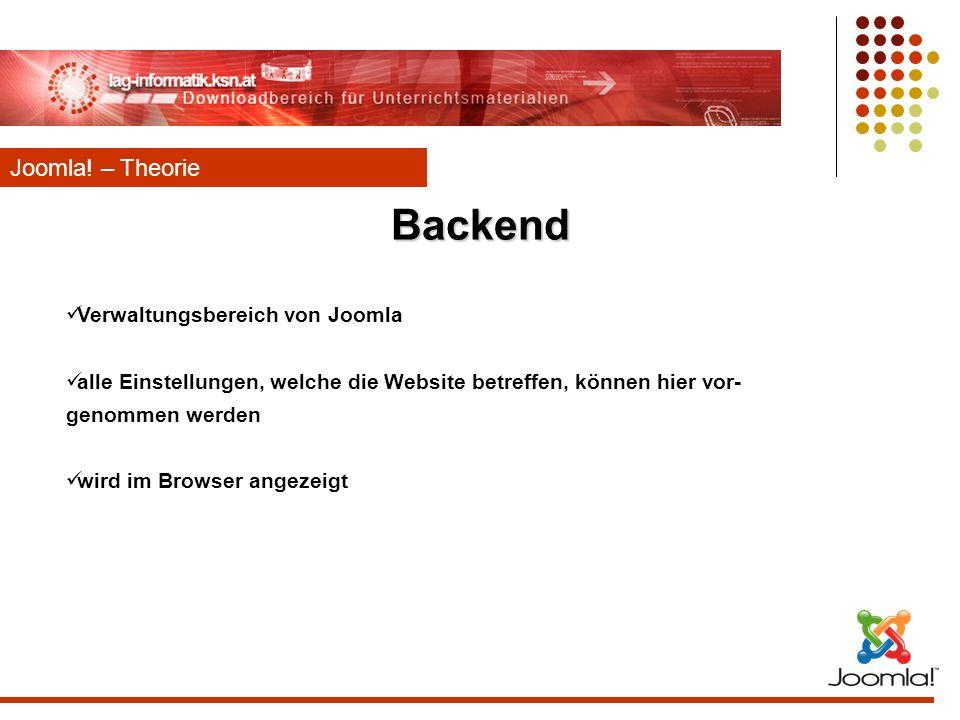 Backend Joomla! – Theorie Verwaltungsbereich von Joomla