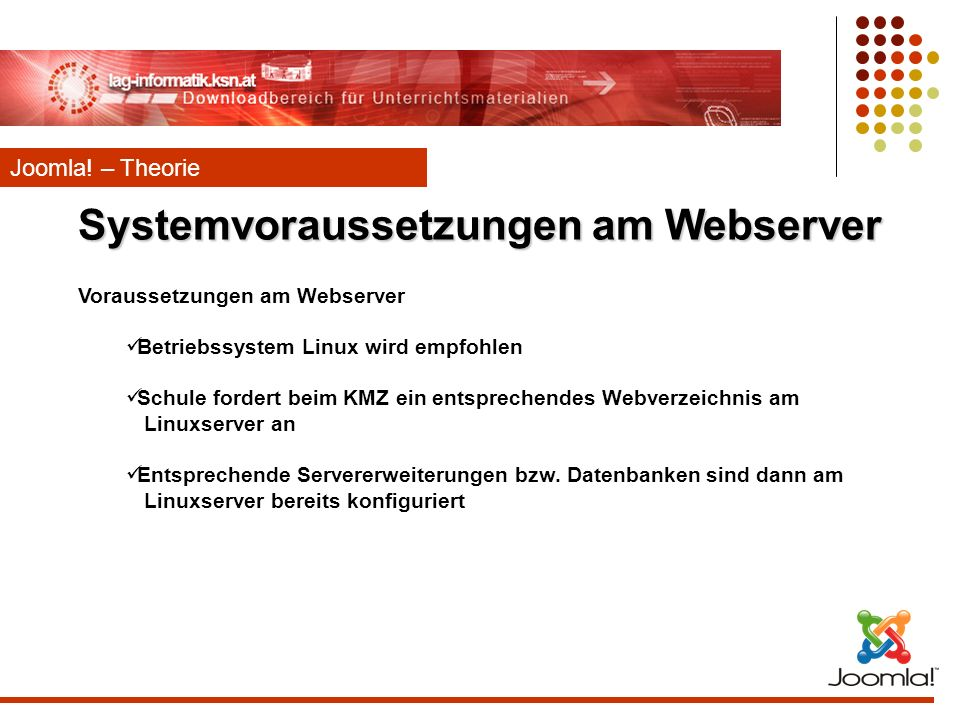 Systemvoraussetzungen am Webserver