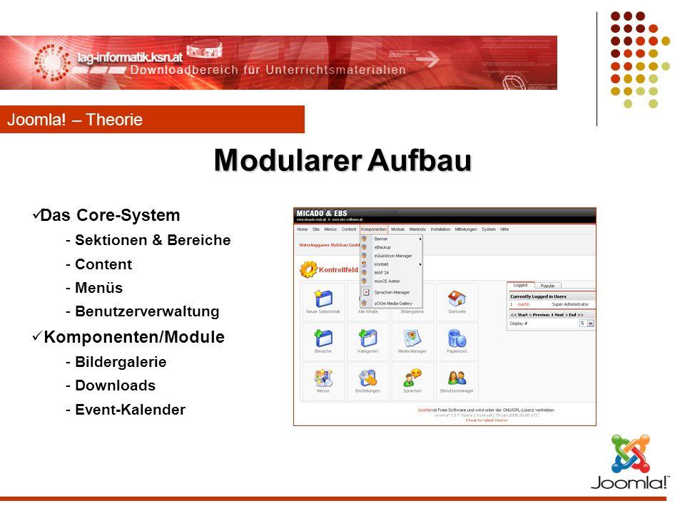 Modularer Aufbau Joomla! – Theorie Das Core-System