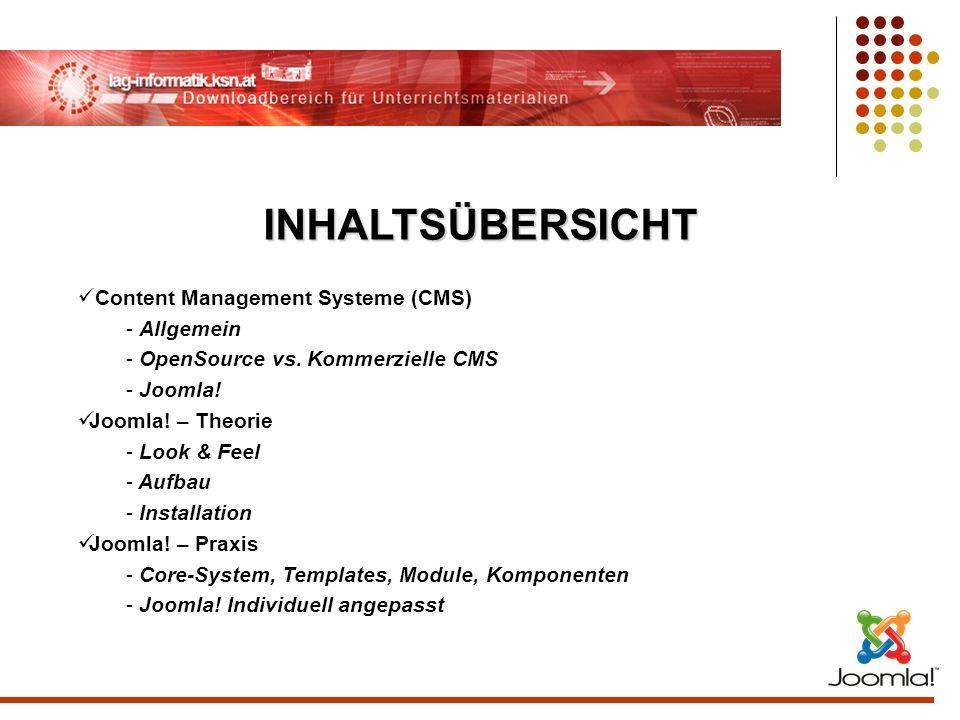 INHALTSÜBERSICHT Content Management Systeme (CMS) Allgemein