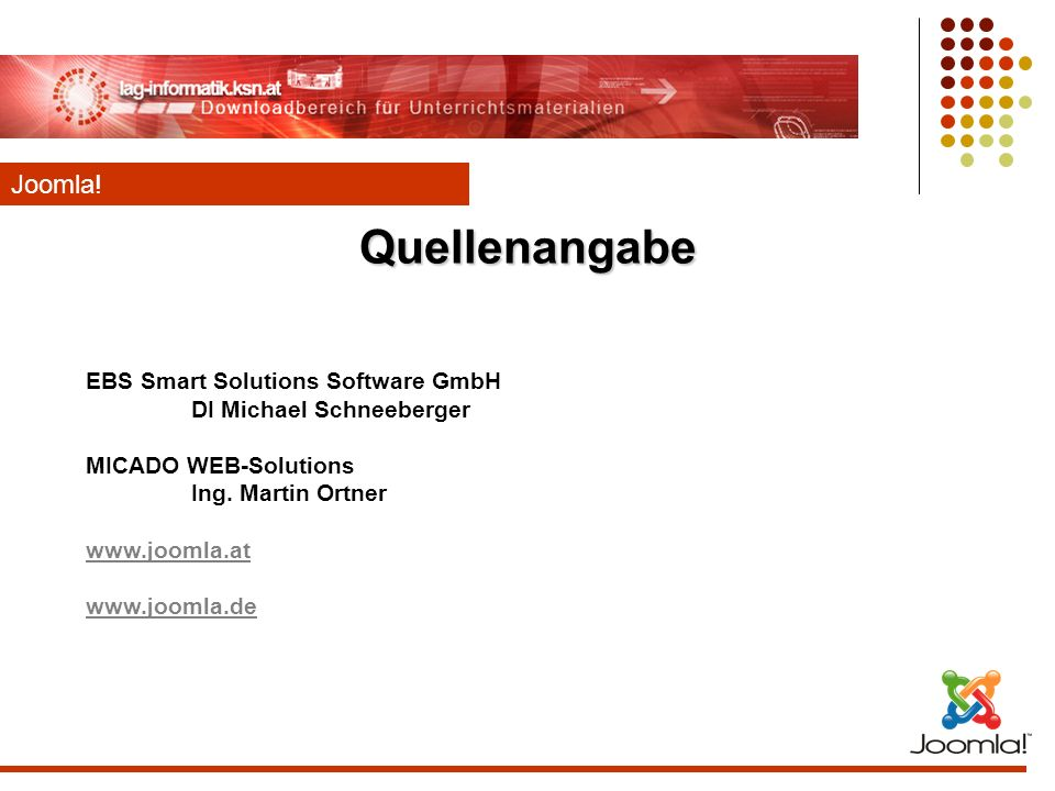 Quellenangabe Joomla! EBS Smart Solutions Software GmbH