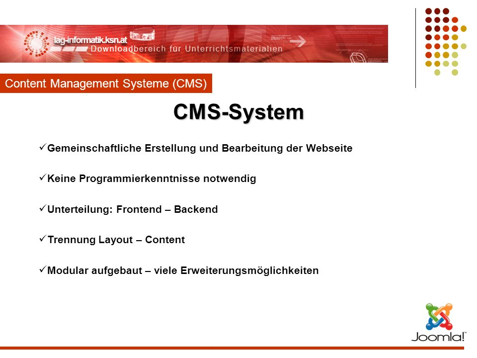 CMS-System Content Management Systeme (CMS)