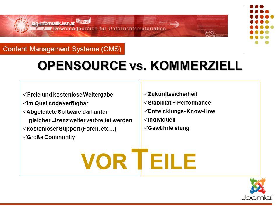 OPENSOURCE vs. KOMMERZIELL