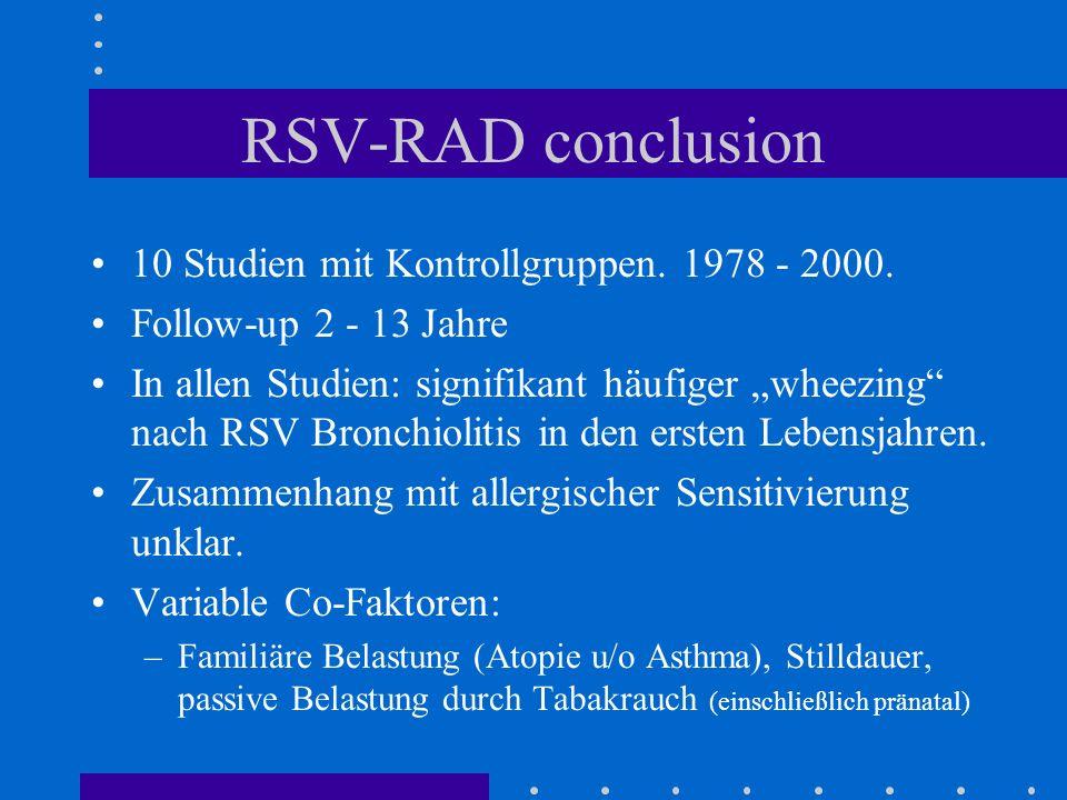 RSV-RAD conclusion 10 Studien mit Kontrollgruppen. 1978 - 2000.