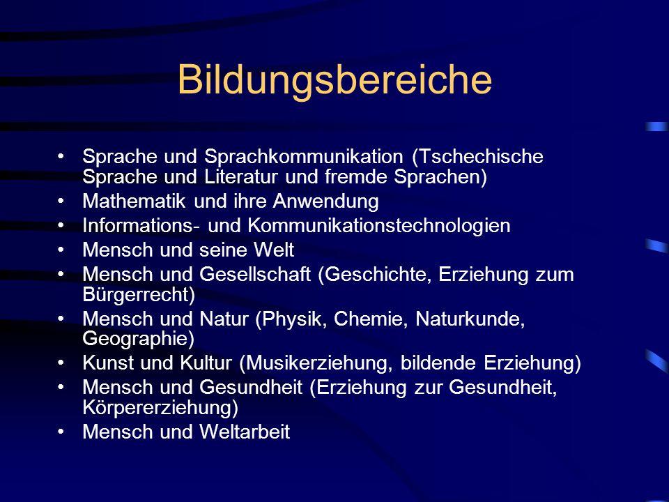 Bildungsbereiche Sprache und Sprachkommunikation (Tschechische Sprache und Literatur und fremde Sprachen)