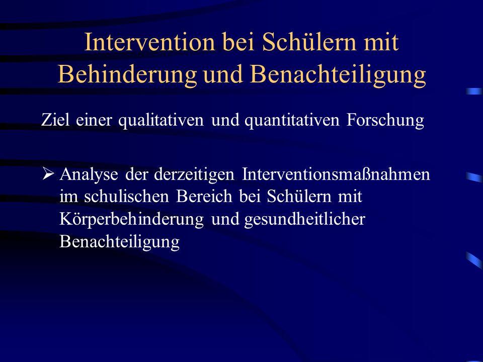 Intervention bei Schülern mit Behinderung und Benachteiligung