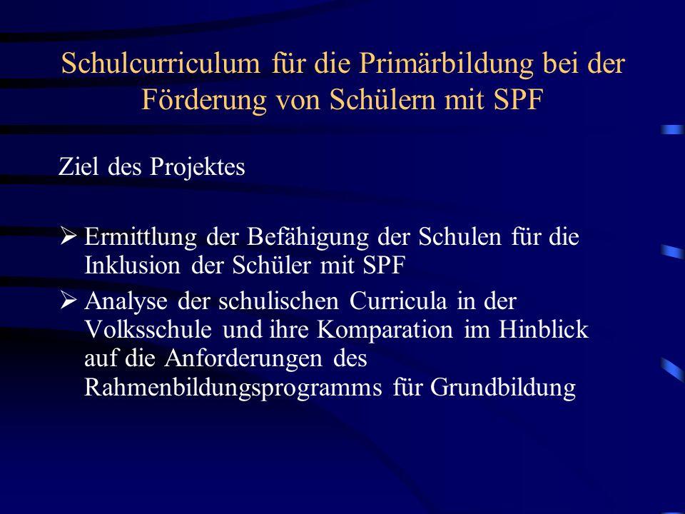 Schulcurriculum für die Primärbildung bei der Förderung von Schülern mit SPF