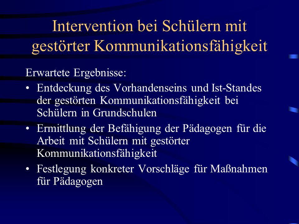 Intervention bei Schülern mit gestörter Kommunikationsfähigkeit