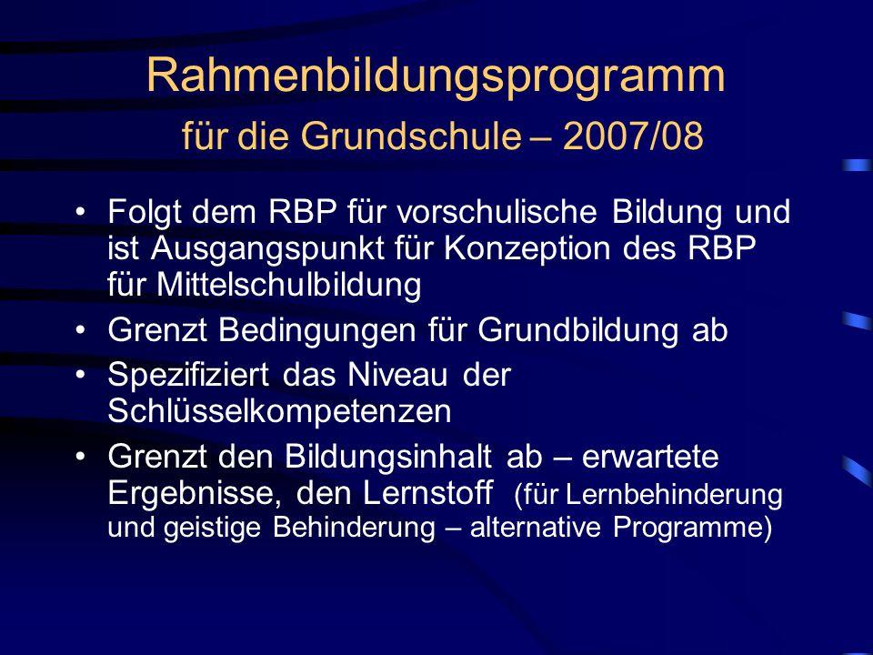 Rahmenbildungsprogramm für die Grundschule – 2007/08