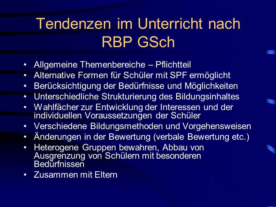 Tendenzen im Unterricht nach RBP GSch