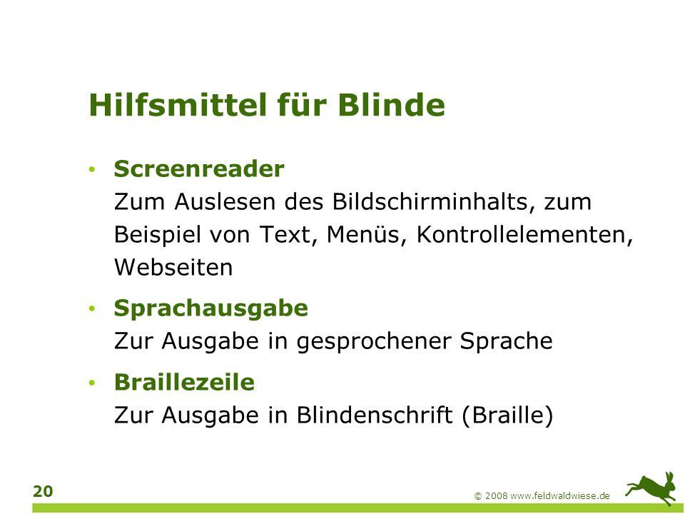 Hilfsmittel für Blinde