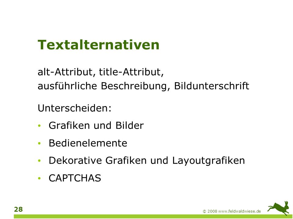 Textalternativen alt-Attribut, title-Attribut,
