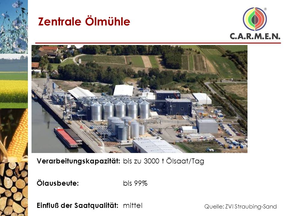 Zentrale Ölmühle Verarbeitungskapazität: bis zu 3000 t Ölsaat/Tag