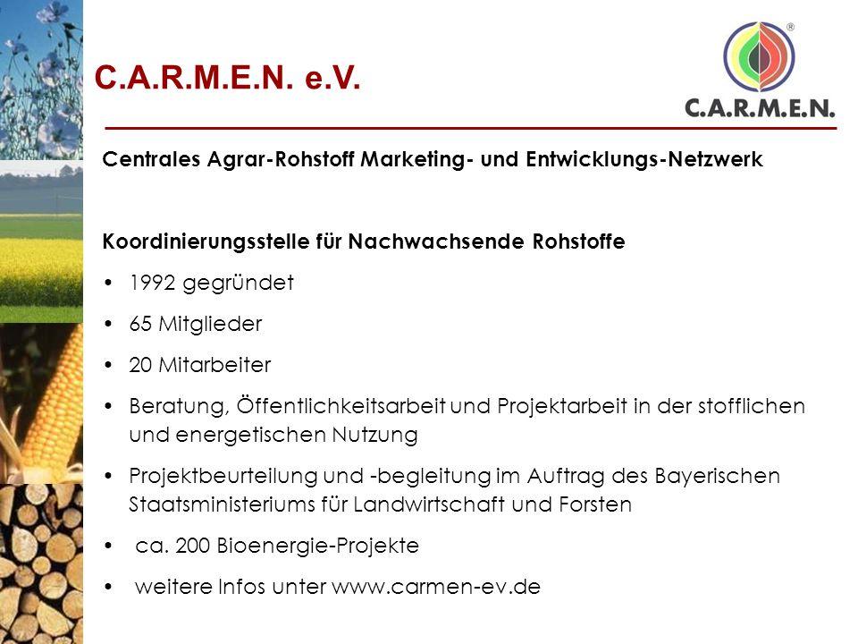 C.A.R.M.E.N. e.V. Centrales Agrar-Rohstoff Marketing- und Entwicklungs-Netzwerk. Koordinierungsstelle für Nachwachsende Rohstoffe.