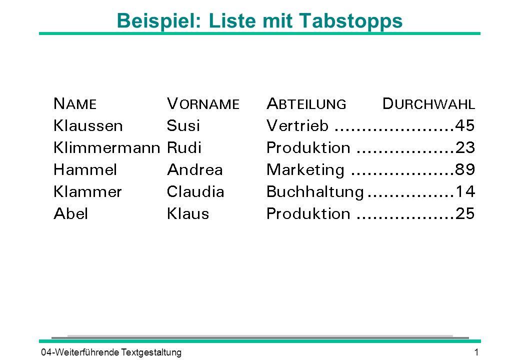 Beispiel: Liste mit Tabstopps