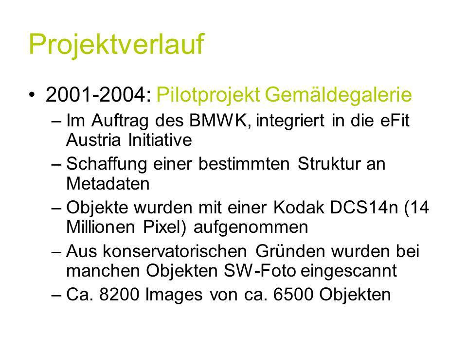 Projektverlauf 2001-2004: Pilotprojekt Gemäldegalerie