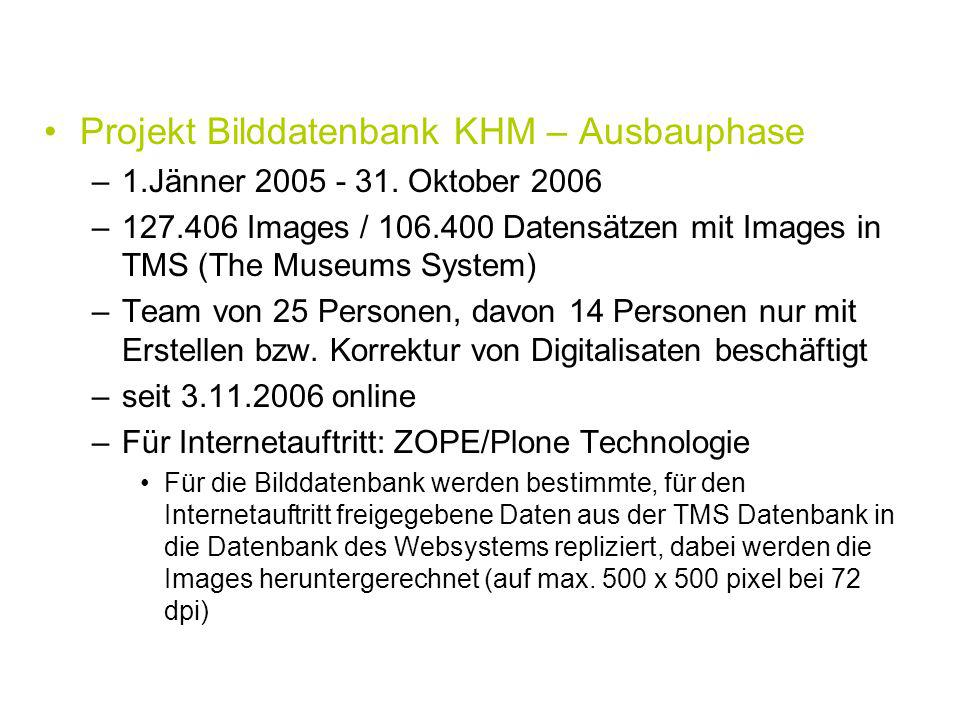 Projekt Bilddatenbank KHM – Ausbauphase