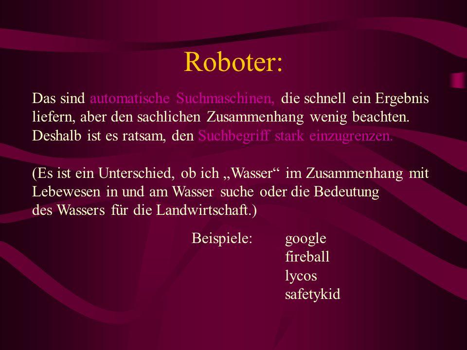 Roboter: Das sind automatische Suchmaschinen, die schnell ein Ergebnis