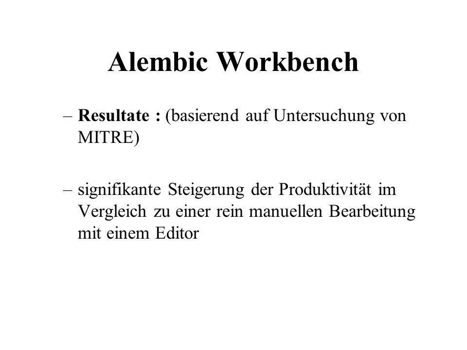 Alembic Workbench Resultate : (basierend auf Untersuchung von MITRE)