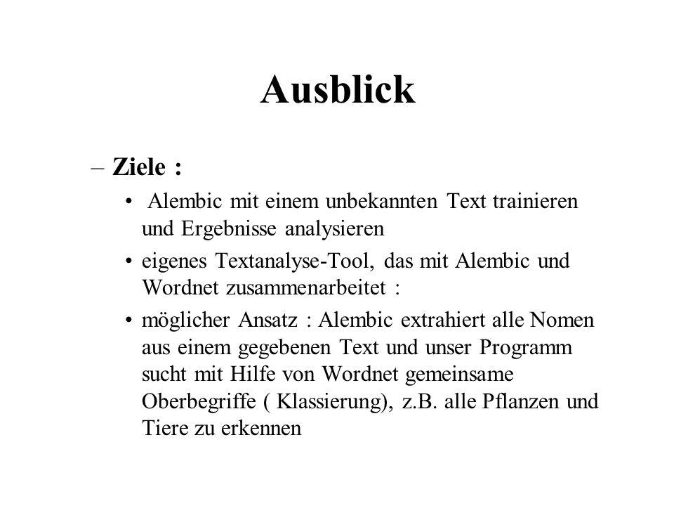 Ausblick Ziele : Alembic mit einem unbekannten Text trainieren und Ergebnisse analysieren.
