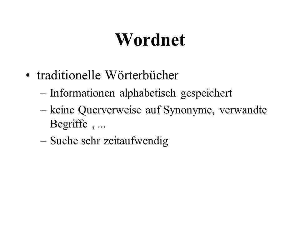 Wordnet traditionelle Wörterbücher