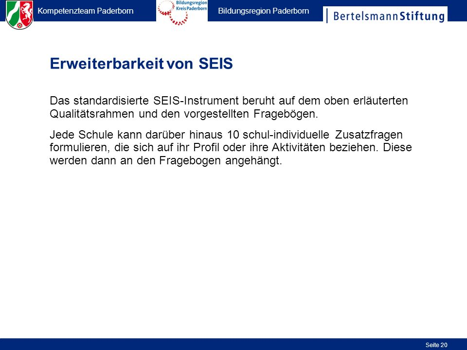 Erweiterbarkeit von SEIS