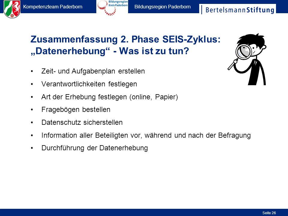 """Zusammenfassung 2. Phase SEIS-Zyklus: """"Datenerhebung - Was ist zu tun"""