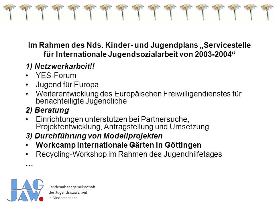"""Im Rahmen des Nds. Kinder- und Jugendplans """"Servicestelle für Internationale Jugendsozialarbeit von 2003-2004"""