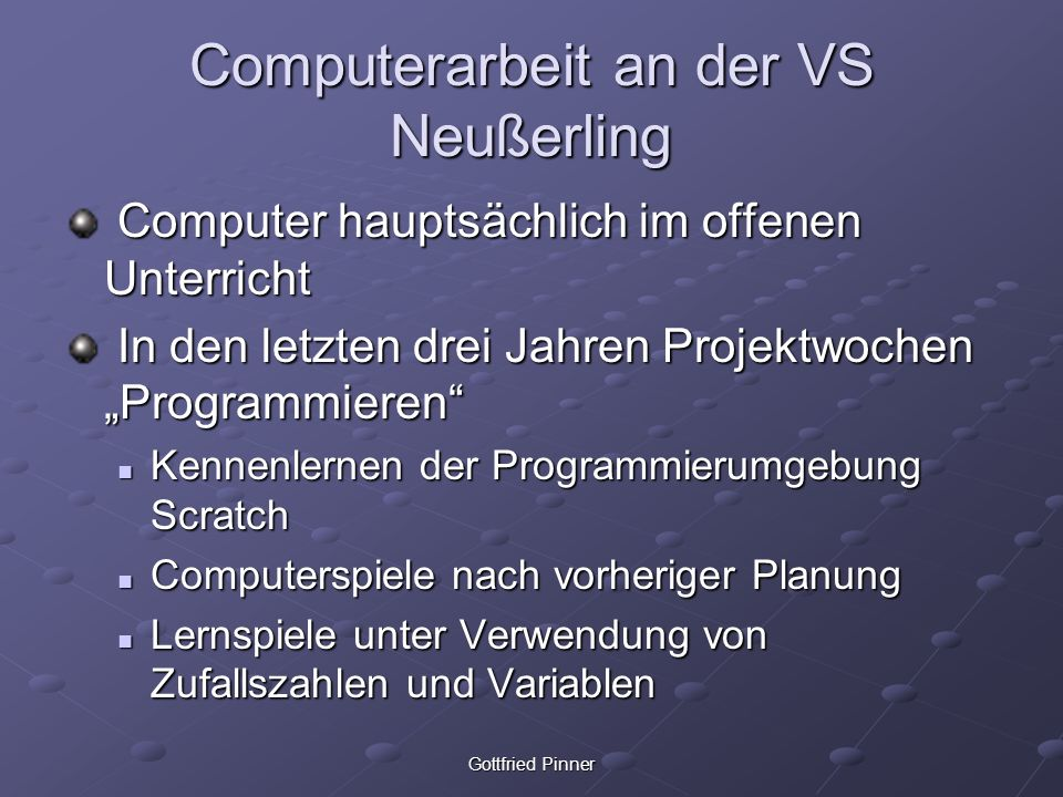 Computerarbeit an der VS Neußerling